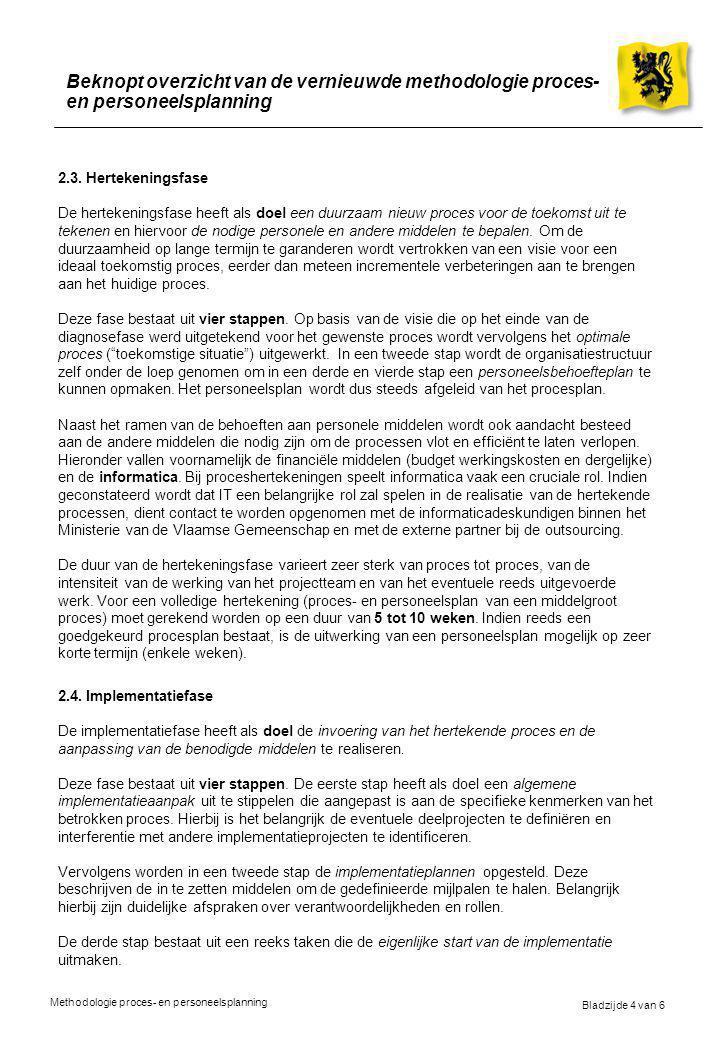 Bladzijde 4 van 6 Methodologie proces- en personeelsplanning Beknopt overzicht van de vernieuwde methodologie proces- en personeelsplanning 2.3. Herte