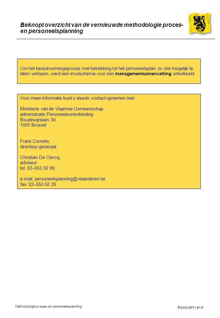 Bladzijde 6 van 6 Methodologie proces- en personeelsplanning Beknopt overzicht van de vernieuwde methodologie proces- en personeelsplanning Om het besluitvormingsproces met betrekking tot het personeelsplan zo vlot mogelijk te laten verlopen, werd een invulschema voor een managementsamenvatting ontwikkeld.