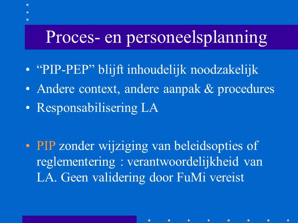 Proces- en personeelsplanning PIP-PEP blijft inhoudelijk noodzakelijk Andere context, andere aanpak & procedures Responsabilisering LA PIP zonder wijziging van beleidsopties of reglementering : verantwoordelijkheid van LA.