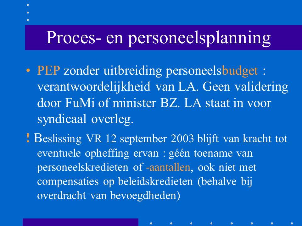 Proces- en personeelsplanning PEP zonder uitbreiding personeelsbudget : verantwoordelijkheid van LA. Geen validering door FuMi of minister BZ. LA staa