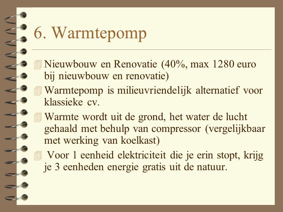 5: Fotovoltaïsche zonnepanelen (PV) 4 Nieuwbouw en Renovatie (40%, max 1280 euro bij nieuwbouw en renovatie) 4 Allerlaatste fase energiezuinige woning en.