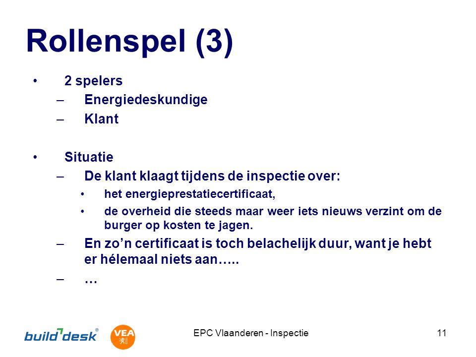 EPC Vlaanderen - Inspectie11 Rollenspel (3) 2 spelers –Energiedeskundige –Klant Situatie –De klant klaagt tijdens de inspectie over: het energieprestatiecertificaat, de overheid die steeds maar weer iets nieuws verzint om de burger op kosten te jagen.