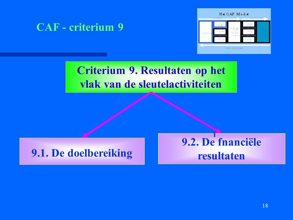 18 Criterium 9. Resultaten op het vlak van de sleutelactiviteiten 9.1. De doelbereiking 9.2. De fnanciële resultaten i CAF - criterium 9