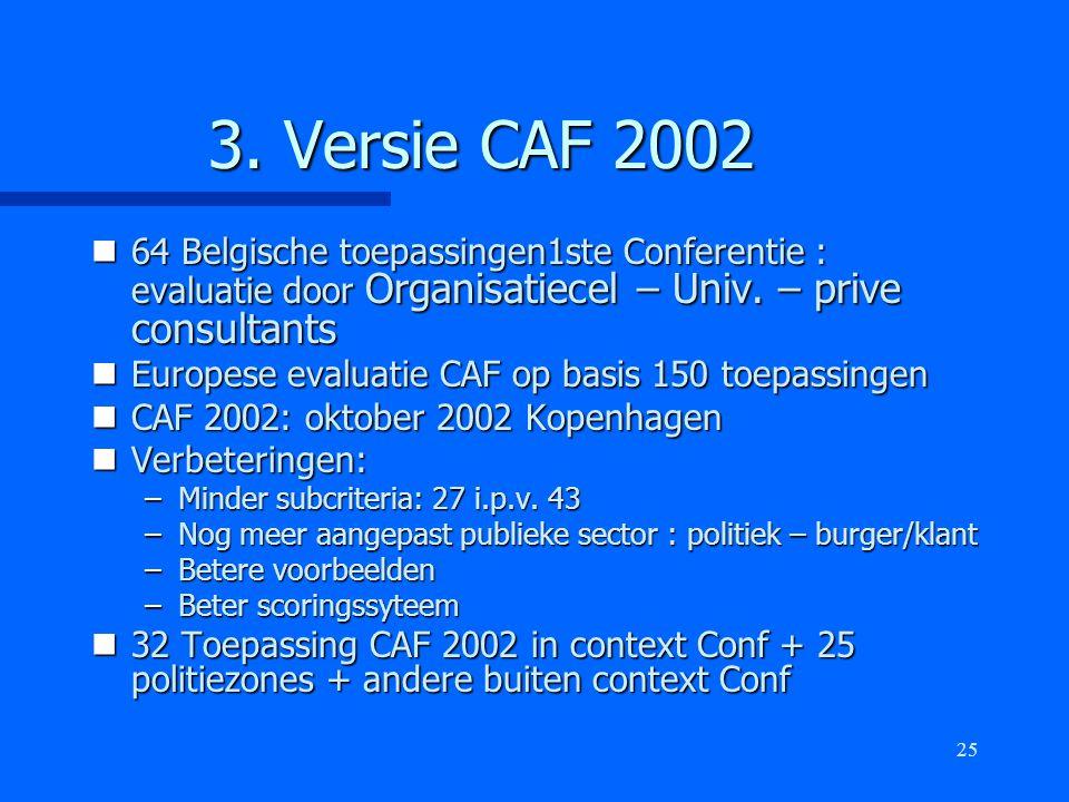 25 3. Versie CAF 2002 n64 Belgische toepassingen1ste Conferentie : evaluatie door Organisatiecel – Univ. – prive consultants nEuropese evaluatie CAF o