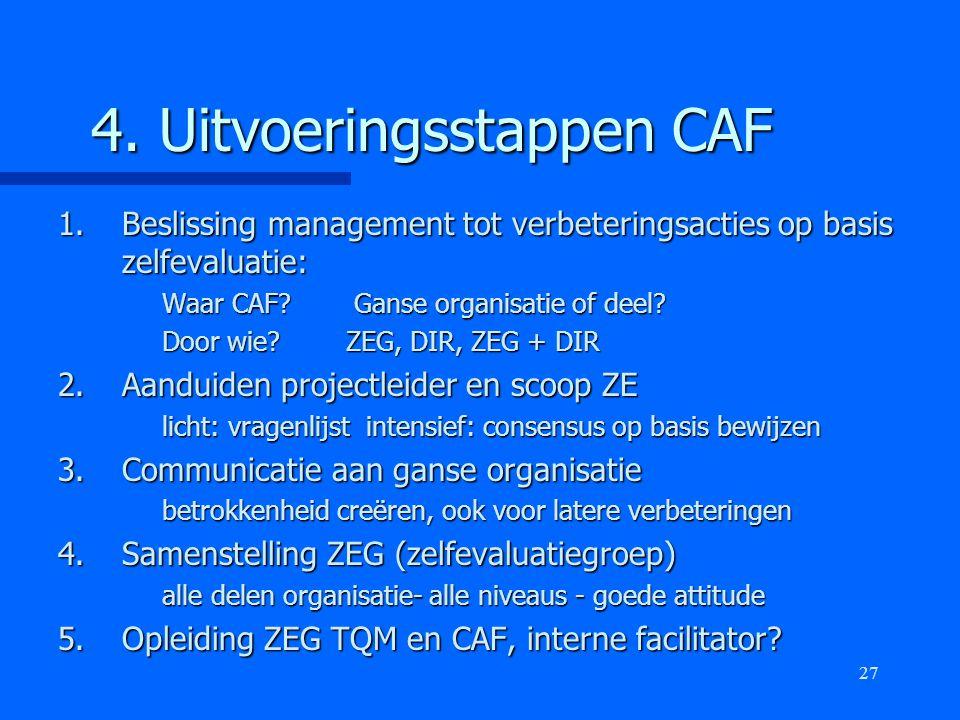 27 4. Uitvoeringsstappen CAF 1.Beslissing management tot verbeteringsacties op basis zelfevaluatie: Waar CAF? Ganse organisatie of deel? Door wie?ZEG,