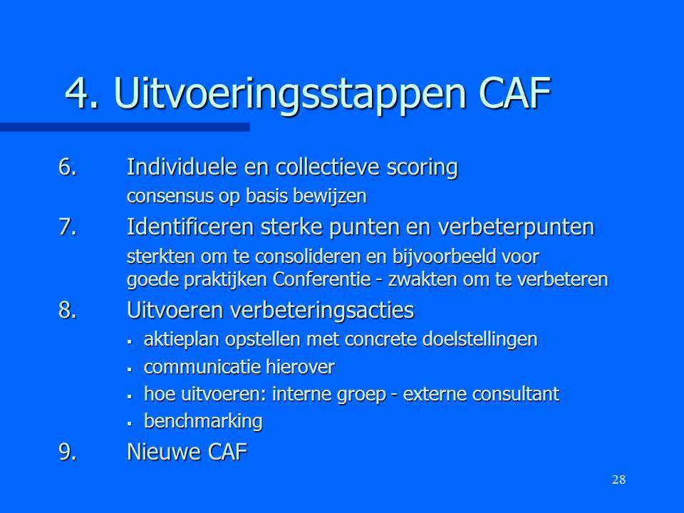 28 4. Uitvoeringsstappen CAF 6.Individuele en collectieve scoring consensus op basis bewijzen 7.Identificeren sterke punten en verbeterpunten sterkten