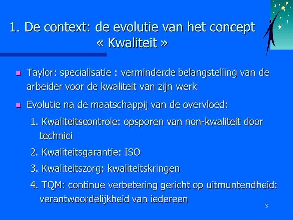 3 1. De context: de evolutie van het concept « Kwaliteit » n Taylor: specialisatie : verminderde belangstelling van de arbeider voor de kwaliteit van