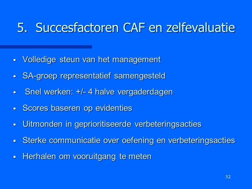 32 5. Succesfactoren CAF en zelfevaluatie  Volledige steun van het management  SA-groep representatief samengesteld  Snel werken: +/- 4 halve verga