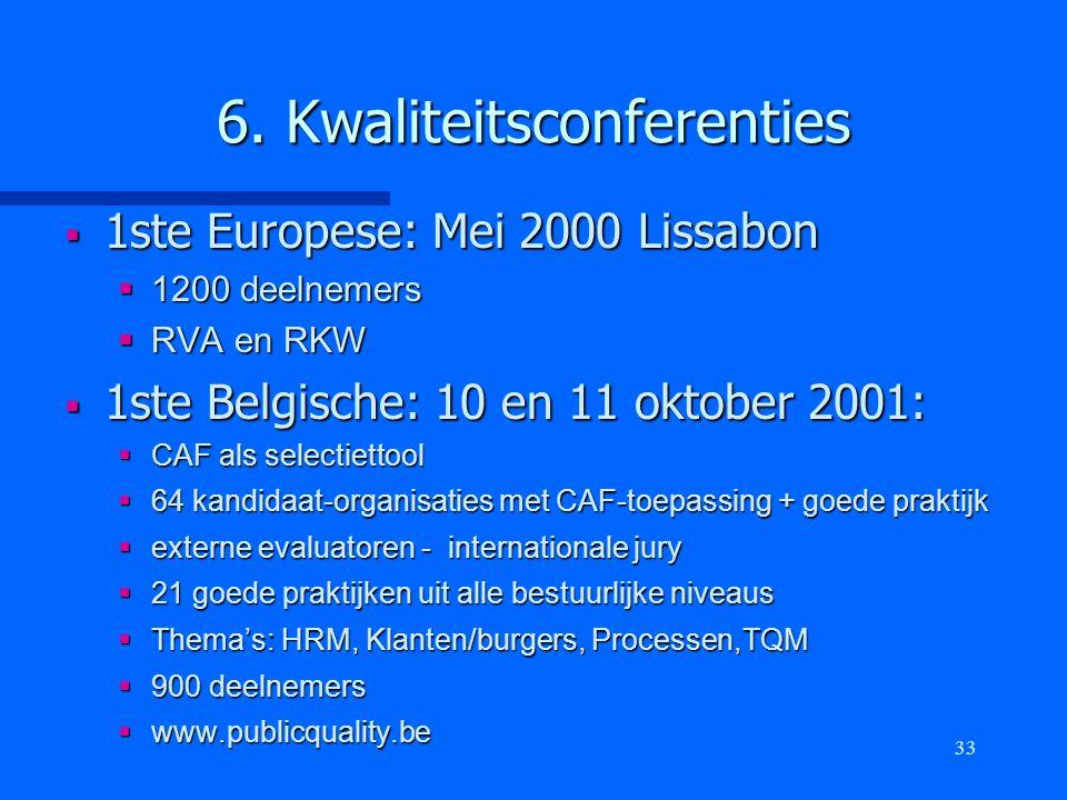 33 6. Kwaliteitsconferenties  1ste Europese: Mei 2000 Lissabon  1200 deelnemers  RVA en RKW  1ste Belgische: 10 en 11 oktober 2001:  CAF als sele