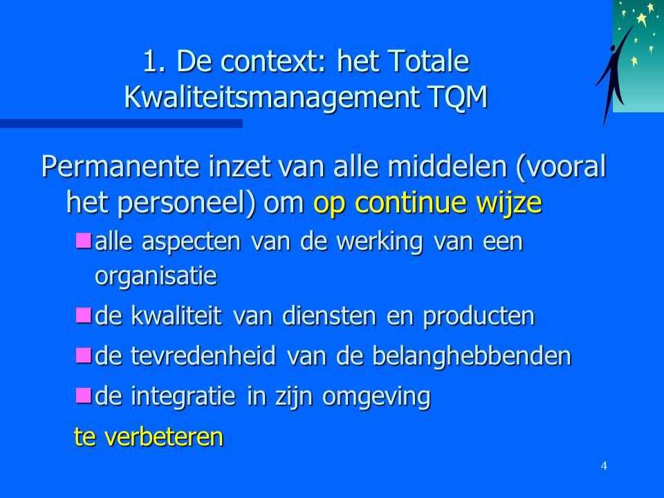4 1. De context: het Totale Kwaliteitsmanagement TQM Permanente inzet van alle middelen (vooral het personeel) om op continue wijze alle aspecten van