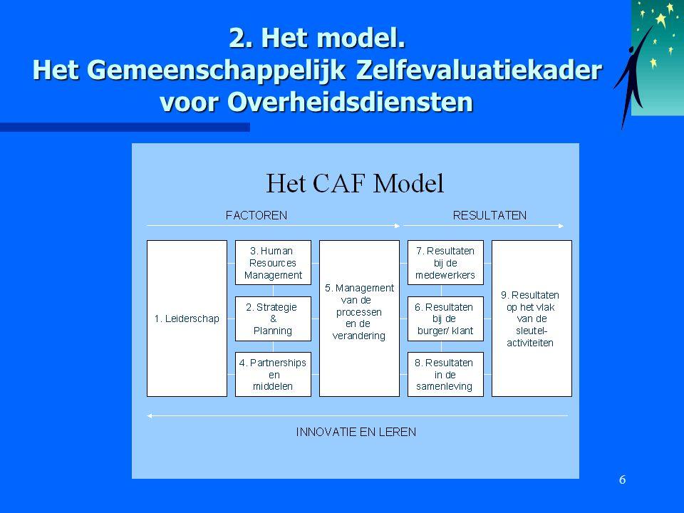 6 2. Het model. Het Gemeenschappelijk Zelfevaluatiekader voor Overheidsdiensten