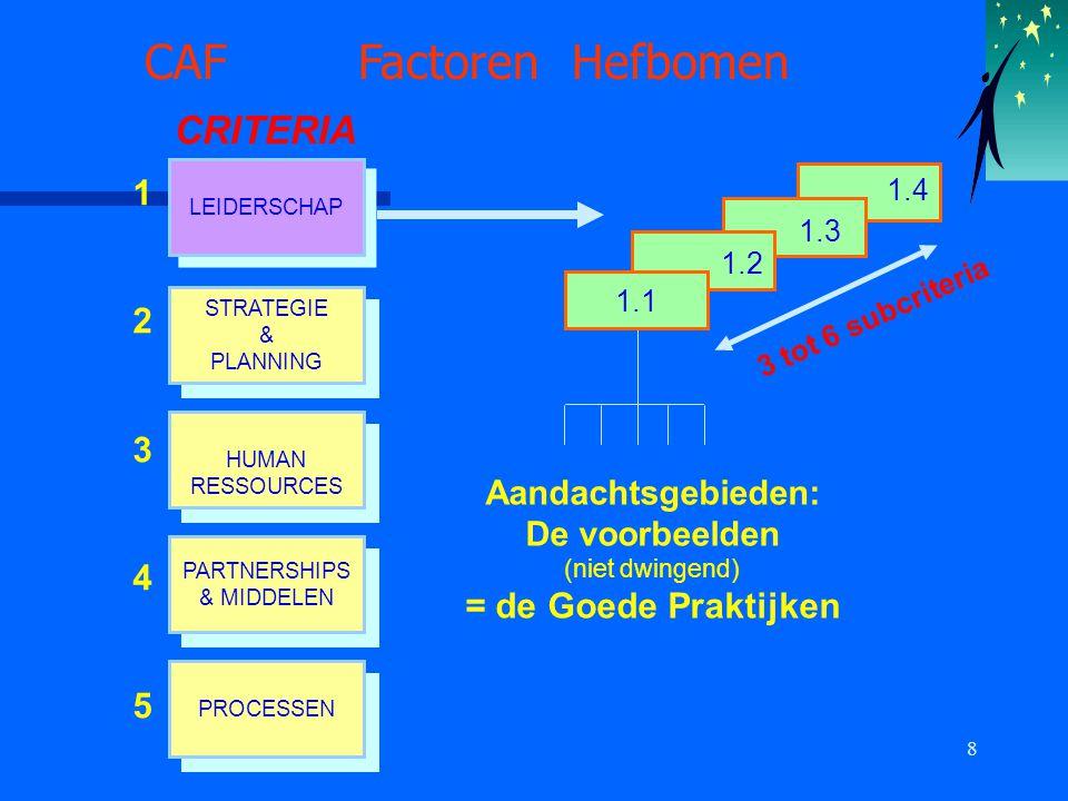 9 CAF Resultaten RESULTATEN SLEUTELPRESTATIES RESULTATEN SLEUTELPRESTATIES RESULTATEN bij de SAMENLEVING RESULTATEN bij de SAMENLEVING RESULTATEN bij de BURGER/KLANT RESULTATEN bij de BURGER/KLANT RESULTATEN bij de MEDEWERKERS RESULTATEN bij de MEDEWERKERS Percepties Indicatoren Subcriteria 2 1 CRITERIA Doelbereiking Financiën