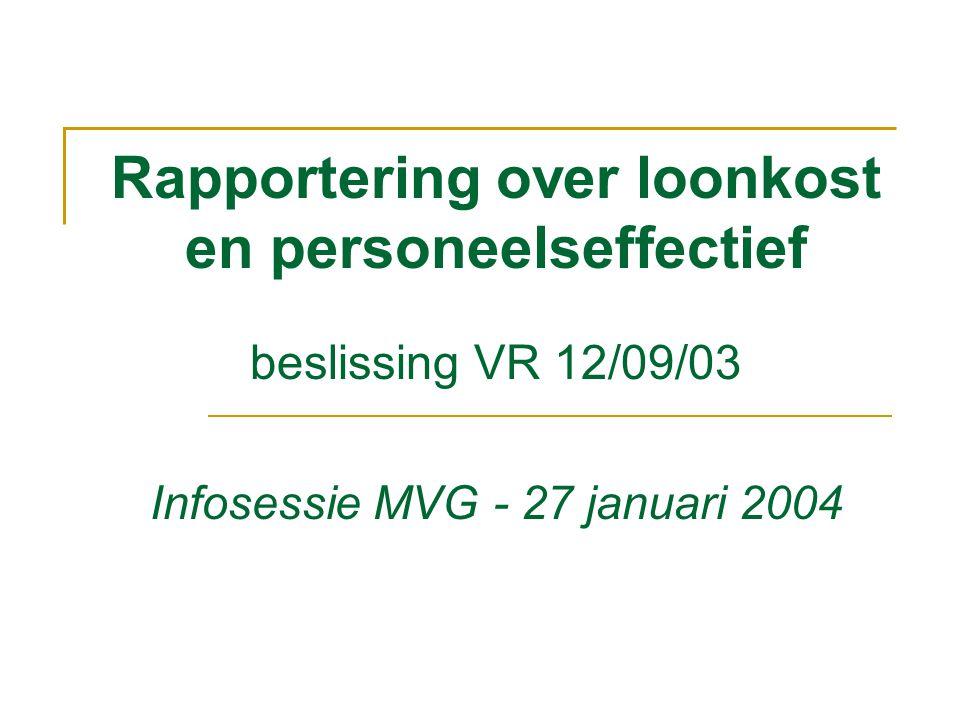 Rapportering over loonkost en personeelseffectief beslissing VR 12/09/03 Infosessie MVG - 27 januari 2004