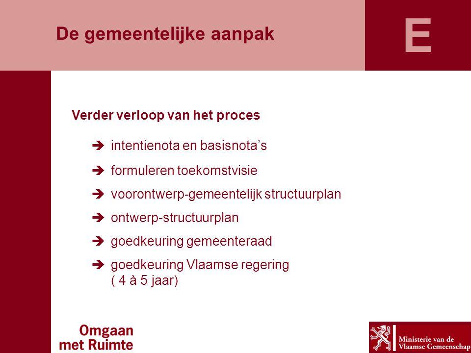 De gemeentelijke aanpak Verder verloop van het proces  intentienota en basisnota's  formuleren toekomstvisie  voorontwerp-gemeentelijk structuurplan  ontwerp-structuurplan  goedkeuring gemeenteraad  goedkeuring Vlaamse regering ( 4 à 5 jaar) E
