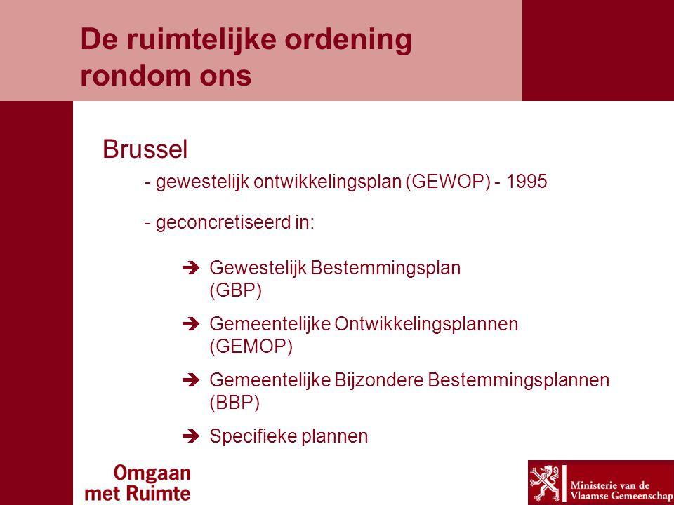 De ruimtelijke ordening rondom ons Brussel - gewestelijk ontwikkelingsplan (GEWOP) - 1995 - geconcretiseerd in:  Gewestelijk Bestemmingsplan (GBP)  Gemeentelijke Ontwikkelingsplannen (GEMOP)  Gemeentelijke Bijzondere Bestemmingsplannen (BBP)  Specifieke plannen