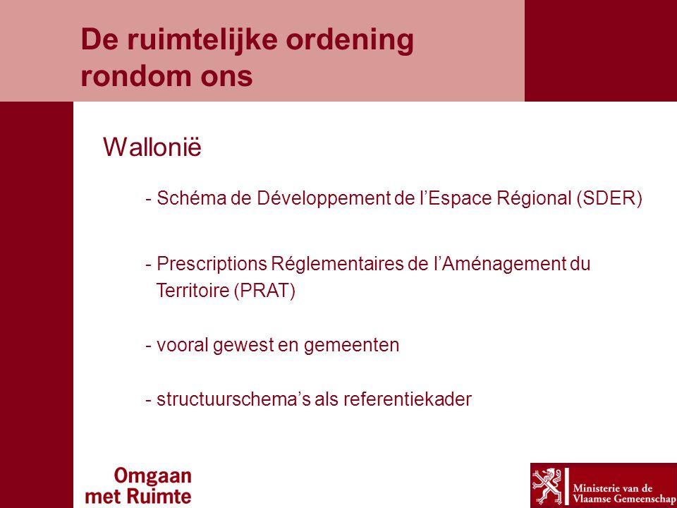 De ruimtelijke ordening rondom ons Wallonië - Schéma de Développement de l'Espace Régional (SDER) - Prescriptions Réglementaires de l'Aménagement du Territoire (PRAT) - vooral gewest en gemeenten - structuurschema's als referentiekader