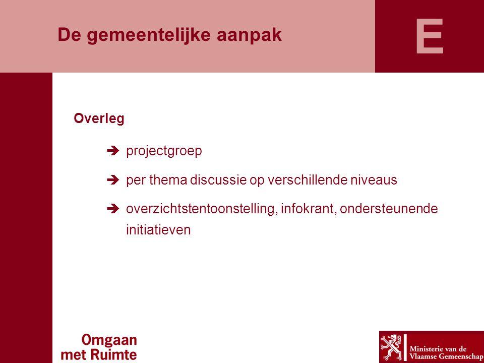 De gemeentelijke aanpak Overleg  projectgroep  per thema discussie op verschillende niveaus  overzichtstentoonstelling, infokrant, ondersteunende initiatieven E