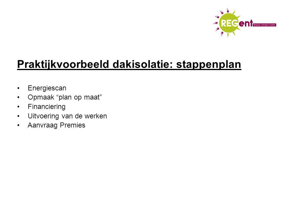 Praktijkvoorbeeld dakisolatie: stappenplan Energiescan Opmaak plan op maat Financiering Uitvoering van de werken Aanvraag Premies