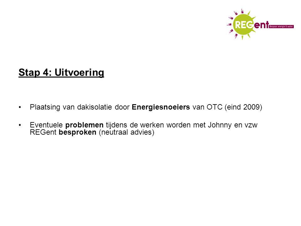 Stap 4: Uitvoering Plaatsing van dakisolatie door Energiesnoeiers van OTC (eind 2009) Eventuele problemen tijdens de werken worden met Johnny en vzw REGent besproken (neutraal advies)
