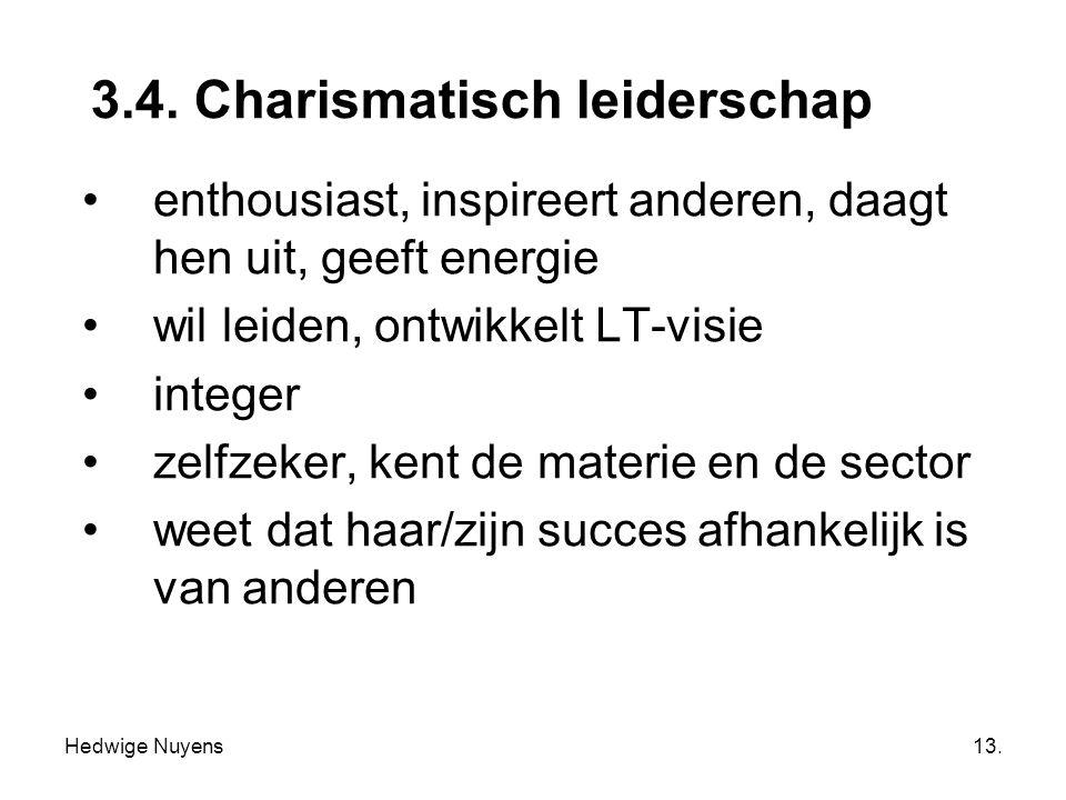 Hedwige Nuyens13. 3.4. Charismatisch leiderschap enthousiast, inspireert anderen, daagt hen uit, geeft energie wil leiden, ontwikkelt LT-visie integer