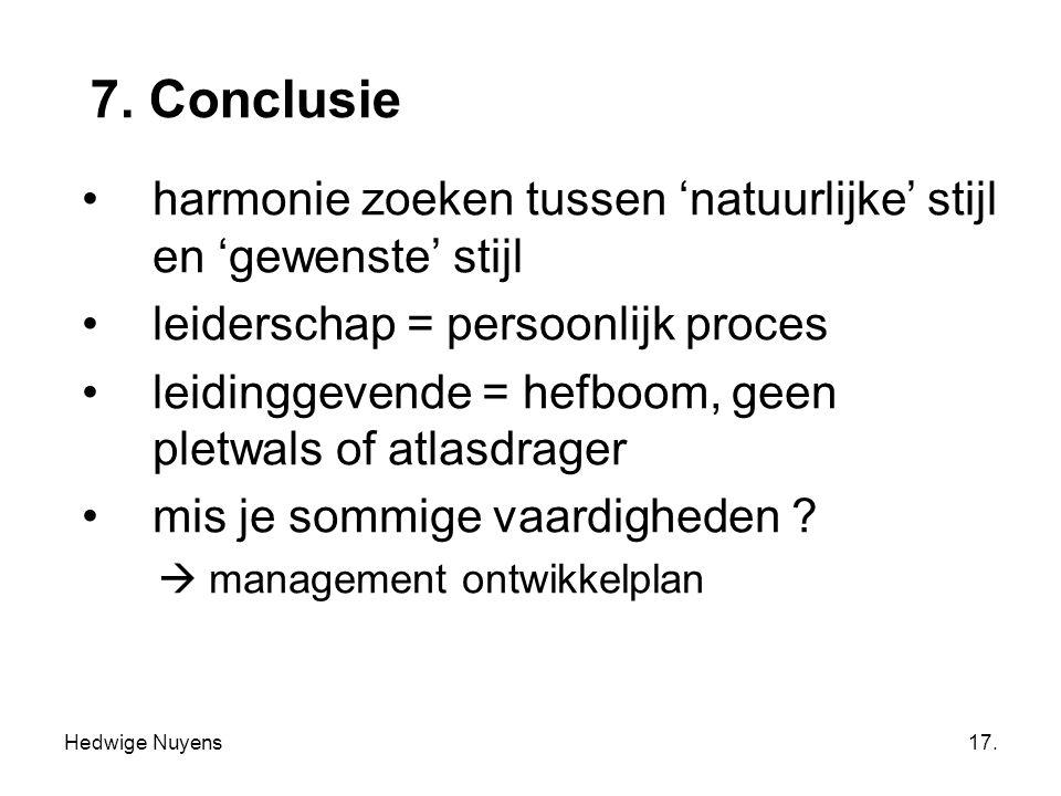 Hedwige Nuyens17. 7. Conclusie harmonie zoeken tussen 'natuurlijke' stijl en 'gewenste' stijl leiderschap = persoonlijk proces leidinggevende = hefboo