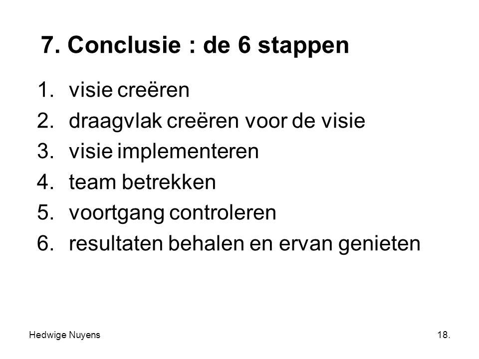 Hedwige Nuyens18. 7. Conclusie : de 6 stappen 1.visie creëren 2.draagvlak creëren voor de visie 3.visie implementeren 4.team betrekken 5.voortgang con