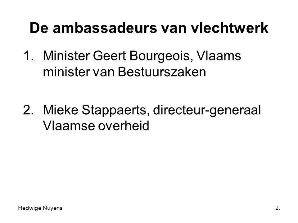 Hedwige Nuyens2. De ambassadeurs van vlechtwerk 1.Minister Geert Bourgeois, Vlaams minister van Bestuurszaken 2.Mieke Stappaerts, directeur-generaal V