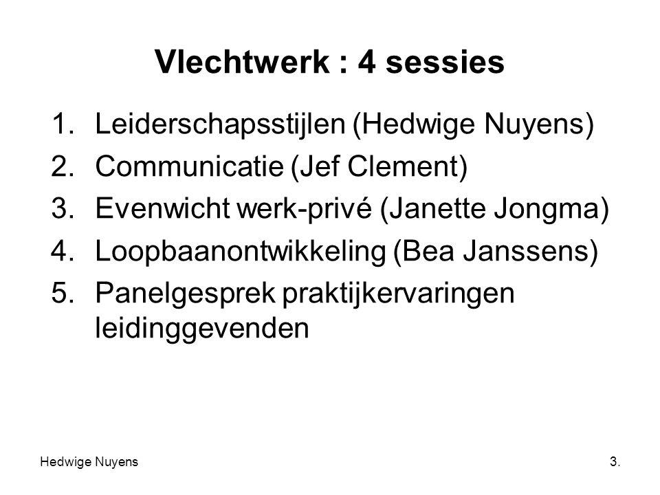 Hedwige Nuyens3. Vlechtwerk : 4 sessies 1.Leiderschapsstijlen (Hedwige Nuyens) 2.Communicatie (Jef Clement) 3.Evenwicht werk-privé (Janette Jongma) 4.