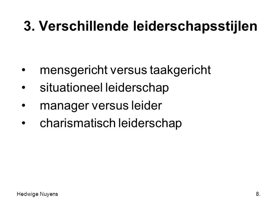 Hedwige Nuyens8. 3. Verschillende leiderschapsstijlen mensgericht versus taakgericht situationeel leiderschap manager versus leider charismatisch leid