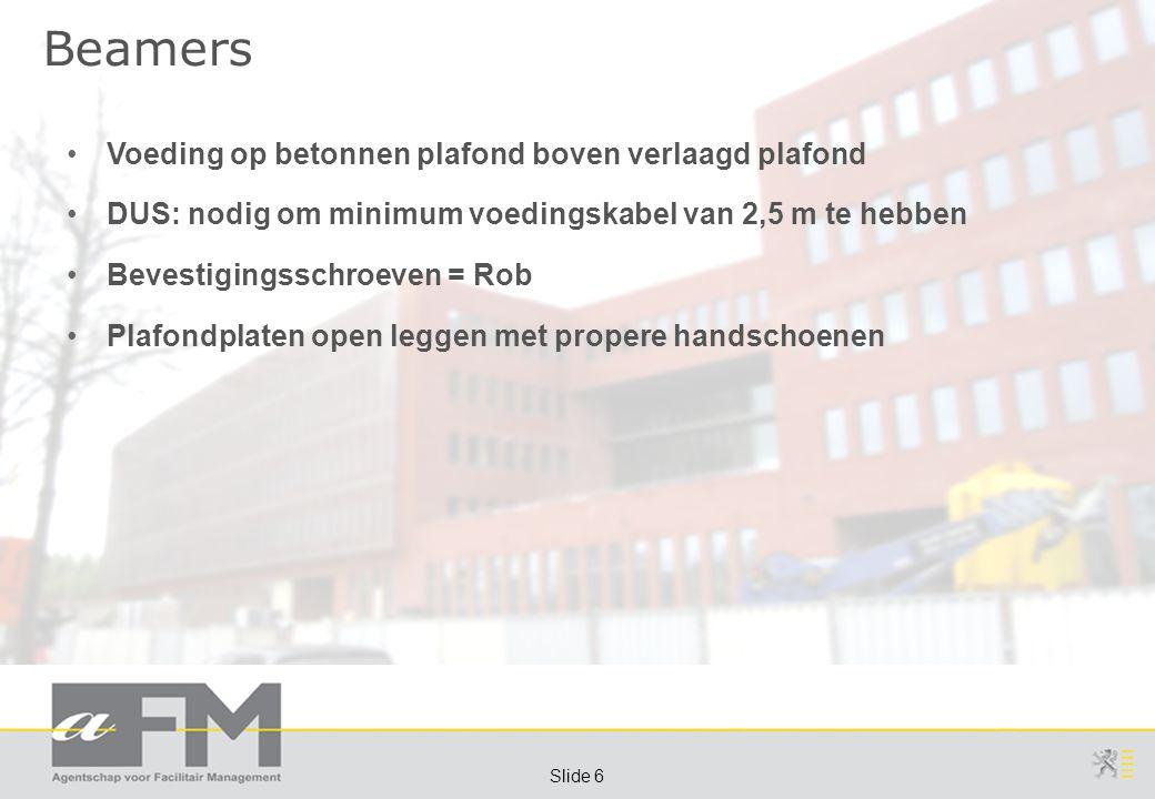 Page 6 Slide 6 Beamers Voeding op betonnen plafond boven verlaagd plafond DUS: nodig om minimum voedingskabel van 2,5 m te hebben Bevestigingsschroeven = Rob Plafondplaten open leggen met propere handschoenen