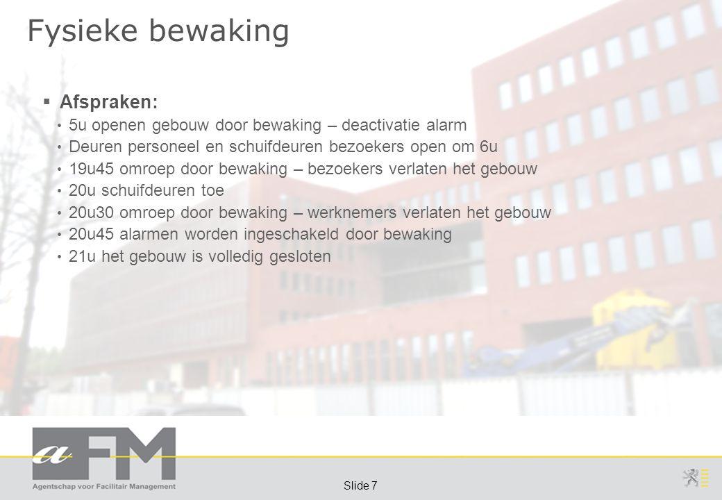 Page 7 Slide 7 Fysieke bewaking  Afspraken: 5u openen gebouw door bewaking – deactivatie alarm Deuren personeel en schuifdeuren bezoekers open om 6u