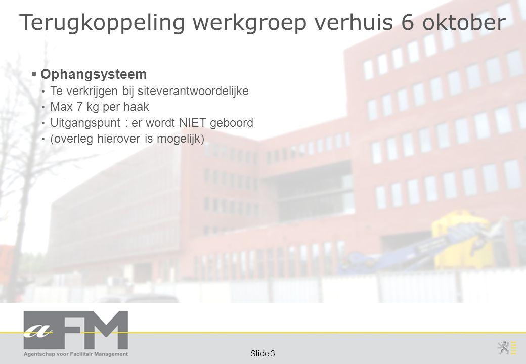Page 3 Slide 3 Terugkoppeling werkgroep verhuis 6 oktober  Ophangsysteem Te verkrijgen bij siteverantwoordelijke Max 7 kg per haak Uitgangspunt : er wordt NIET geboord (overleg hierover is mogelijk)