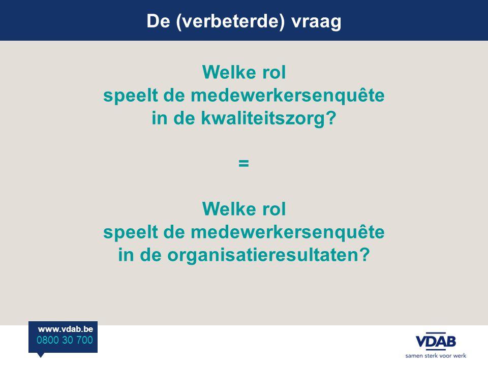 Welke rol speelt de medewerkersenquête in de kwaliteitszorg? = Welke rol speelt de medewerkersenquête in de organisatieresultaten? De (verbeterde) vra