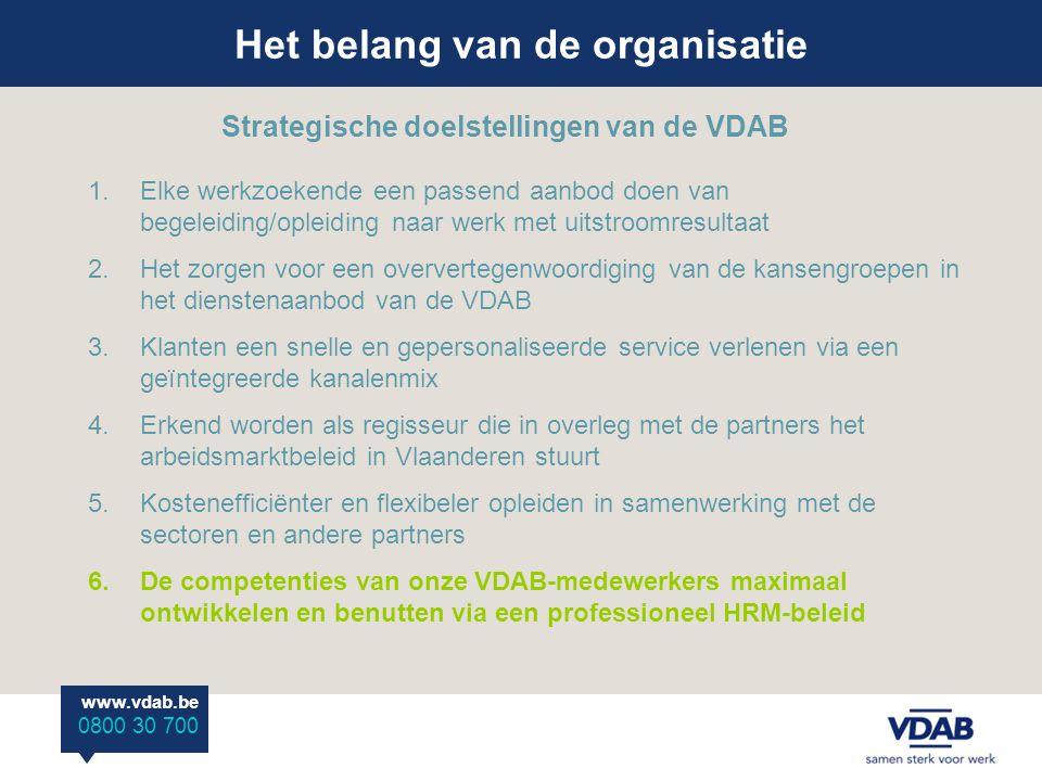 Het belang van de organisatie www.vdab.be 0800 30 700 Strategische doelstellingen van de VDAB 1.Elke werkzoekende een passend aanbod doen van begeleiding/opleiding naar werk met uitstroomresultaat 2.Het zorgen voor een oververtegenwoordiging van de kansengroepen in het dienstenaanbod van de VDAB 3.Klanten een snelle en gepersonaliseerde service verlenen via een geïntegreerde kanalenmix 4.Erkend worden als regisseur die in overleg met de partners het arbeidsmarktbeleid in Vlaanderen stuurt 5.Kostenefficiënter en flexibeler opleiden in samenwerking met de sectoren en andere partners 6.De competenties van onze VDAB-medewerkers maximaal ontwikkelen en benutten via een professioneel HRM-beleid