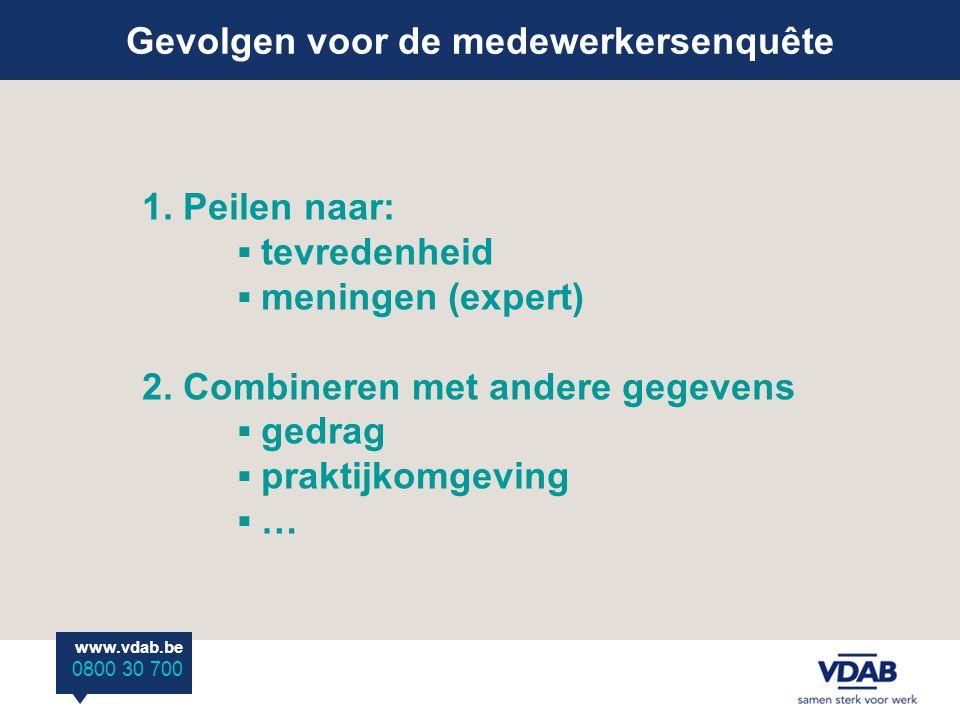 Gevolgen voor de medewerkersenquête www.vdab.be 0800 30 700 1.