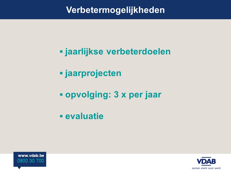Verbetermogelijkheden www.vdab.be 0800 30 700 ▪ jaarlijkse verbeterdoelen ▪ jaarprojecten ▪ opvolging: 3 x per jaar ▪ evaluatie