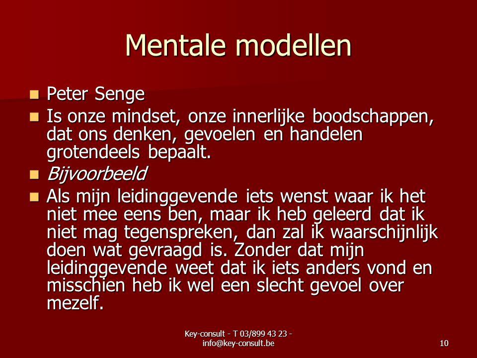 Key-consult - T 03/899 43 23 - info@key-consult.be10 Mentale modellen Peter Senge Peter Senge Is onze mindset, onze innerlijke boodschappen, dat ons denken, gevoelen en handelen grotendeels bepaalt.