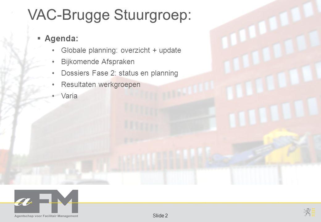 Page 2 Slide 2 VAC-Brugge Stuurgroep:  Agenda: Globale planning: overzicht + update Bijkomende Afspraken Dossiers Fase 2: status en planning Resultaten werkgroepen Varia