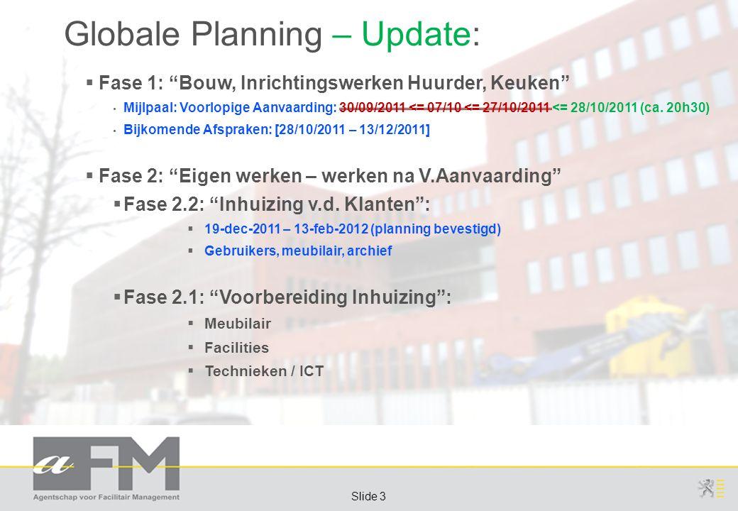 Page 3 Slide 3 Globale Planning – Update:  Fase 1: Bouw, Inrichtingswerken Huurder, Keuken Mijlpaal: Voorlopige Aanvaarding: 30/09/2011 <= 07/10 <= 27/10/2011 <= 28/10/2011 (ca.