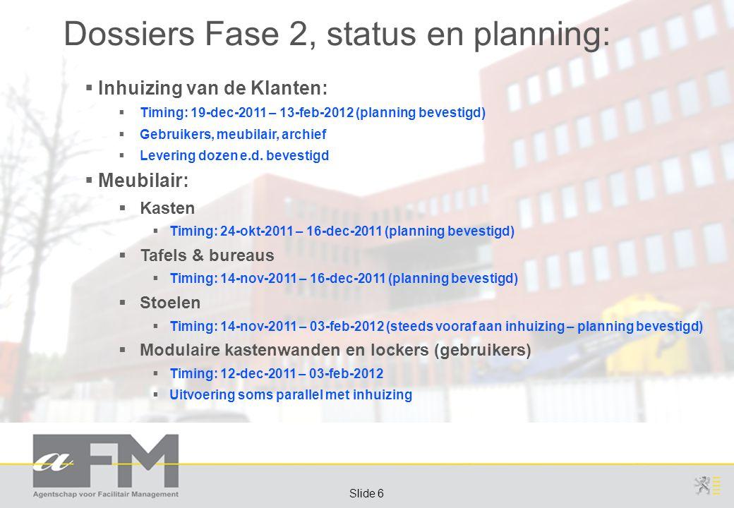 Page 6 Slide 6 Dossiers Fase 2, status en planning:  Inhuizing van de Klanten:  Timing: 19-dec-2011 – 13-feb-2012 (planning bevestigd)  Gebruikers, meubilair, archief  Levering dozen e.d.