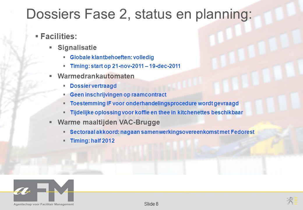 Page 8 Slide 8 Dossiers Fase 2, status en planning:  Facilities:  Signalisatie  Globale klantbehoeften: volledig  Timing: start op 21-nov-2011 – 19-dec-2011  Warmedrankautomaten  Dossier vertraagd  Geen inschrijvingen op raamcontract  Toestemming IF voor onderhandelingsprocedure wordt gevraagd  Tijdelijke oplossing voor koffie en thee in kitchenettes beschikbaar  Warme maaltijden VAC-Brugge  Sectoraal akkoord: nagaan samenwerkingsovereenkomst met Fedorest  Timing: half 2012