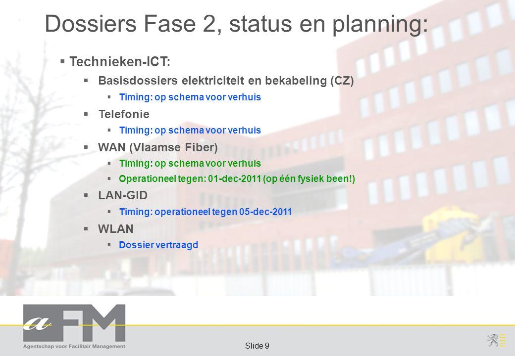 Page 9 Slide 9 Dossiers Fase 2, status en planning:  Technieken-ICT:  Basisdossiers elektriciteit en bekabeling (CZ)  Timing: op schema voor verhuis  Telefonie  Timing: op schema voor verhuis  WAN (Vlaamse Fiber)  Timing: op schema voor verhuis  Operationeel tegen: 01-dec-2011 (op één fysiek been!)  LAN-GID  Timing: operationeel tegen 05-dec-2011  WLAN  Dossier vertraagd