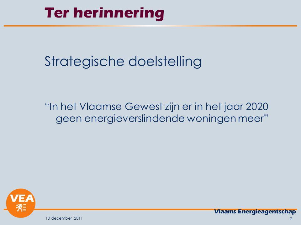 13 december 2011 2 Ter herinnering Strategische doelstelling In het Vlaamse Gewest zijn er in het jaar 2020 geen energieverslindende woningen meer
