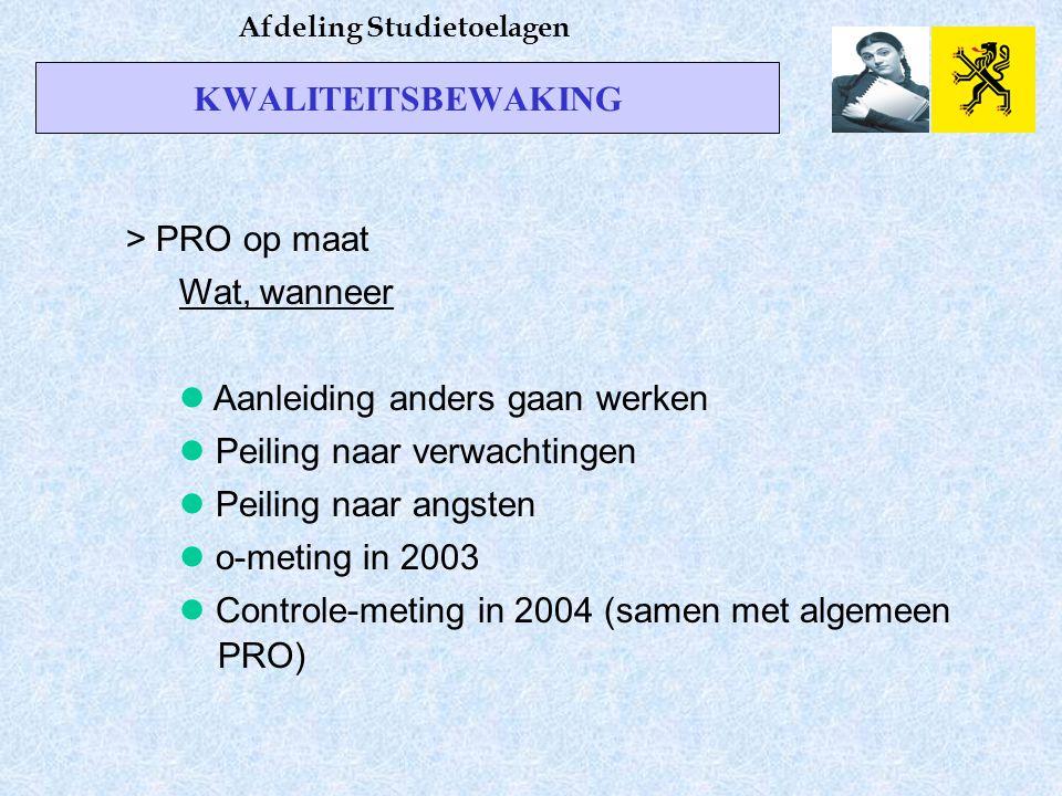 KWALITEITSBEWAKING Afdeling Studietoelagen > PRO op maat Wat, wanneer Aanleiding anders gaan werken Peiling naar verwachtingen Peiling naar angsten o-meting in 2003 Controle-meting in 2004 (samen met algemeen PRO)