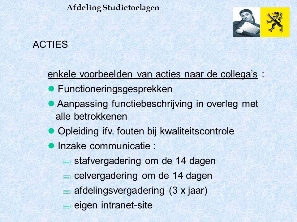 Afdeling Studietoelagen ACTIES enkele voorbeelden van acties naar de collega's : Functioneringsgesprekken Aanpassing functiebeschrijving in overleg met alle betrokkenen Opleiding ifv.