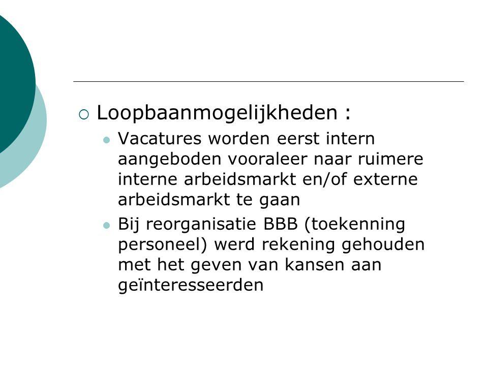  Loopbaanmogelijkheden : Vacatures worden eerst intern aangeboden vooraleer naar ruimere interne arbeidsmarkt en/of externe arbeidsmarkt te gaan Bij reorganisatie BBB (toekenning personeel) werd rekening gehouden met het geven van kansen aan geïnteresseerden