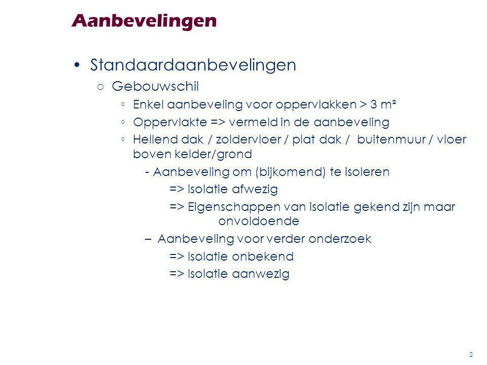 Standaardaanbevelingen ○Gebouwschil ◦Enkel aanbeveling voor oppervlakken > 3 m² ◦Oppervlakte => vermeld in de aanbeveling ◦Hellend dak / zoldervloer /