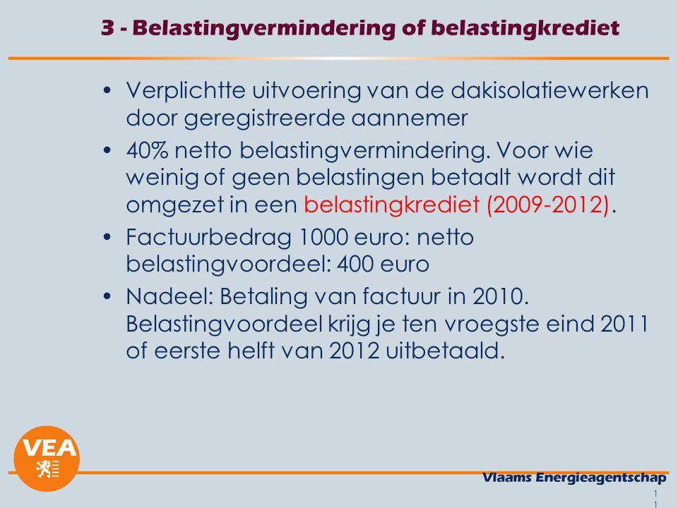 11 3 - Belastingvermindering of belastingkrediet Verplichtte uitvoering van de dakisolatiewerken door geregistreerde aannemer 40% netto belastingvermindering.