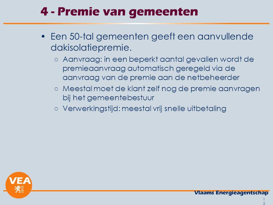 12 4 - Premie van gemeenten Een 50-tal gemeenten geeft een aanvullende dakisolatiepremie.