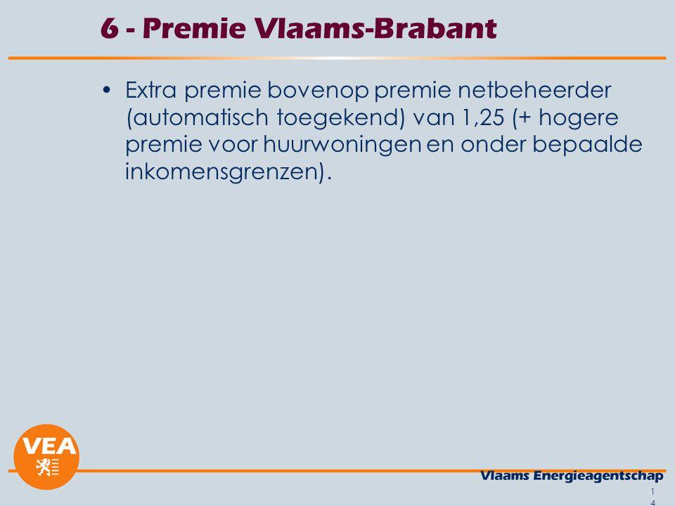 14 6 - Premie Vlaams-Brabant Extra premie bovenop premie netbeheerder (automatisch toegekend) van 1,25 (+ hogere premie voor huurwoningen en onder bepaalde inkomensgrenzen).